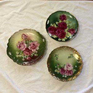 Shabby Chic 3 antique rose plates wall hanging
